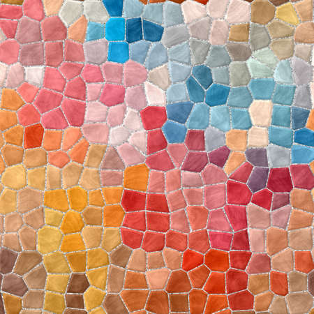 abstract nature marble plastic stony mosaic tiles texture background with gray grout - full color spectrum - beige, red, orange, blue
