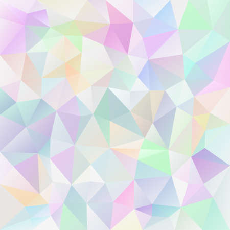 Abstract vector irregular polygonal square background - triangle low poly pattern - light pastel variegated color.