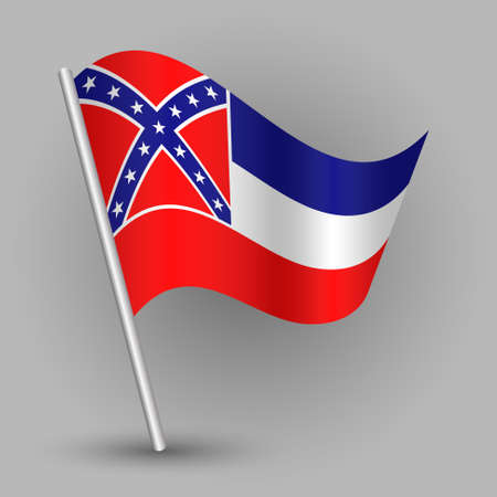 Waving vector simple triangle american state flag on slanted silver pole - icon of Mississippi with metal stick.