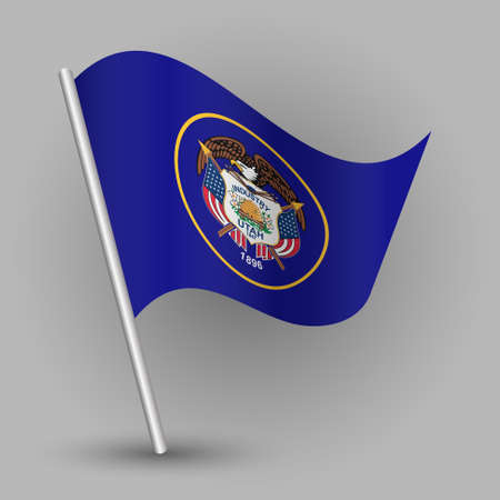 Waving vector simple triangle american state flag on slanted silver pole - icon of Utah with metal stick.