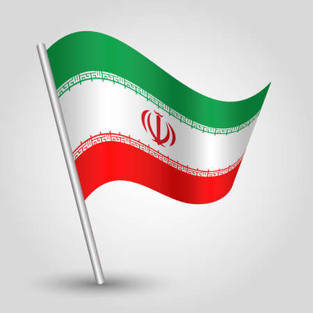 vector waving simple triangle iranian flag on slanted silver pole - icon islamic republic of iran with metal stick