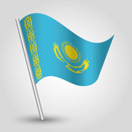 Waving simple triangle Kazakhstan flag on slanted silver pole - icon republic of Kazakhstan with metal stick.