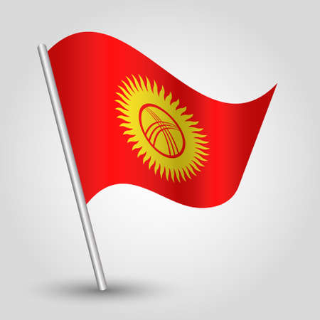 Waving simple triangle Kyrgyzstan flag on slanted silver pole - icon of Kyrgyzstan with metal stick.