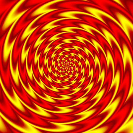 psychedelic round spiral pattern background fiery red and yellow colored Imagens - 96479512