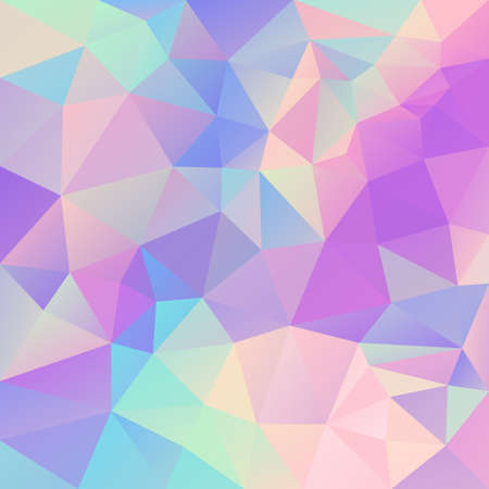 Vector abstract irregular polygonal background. Cute pastel unicorn color spectrum.