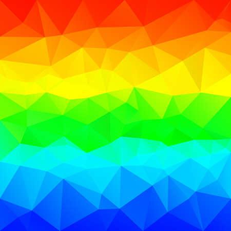 Vector abstract irregular polygonal background. Horizontal rainbow color spectrum