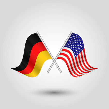 Two crossed German and American flags on silver sticks vector illustration.