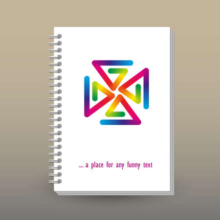 Vector cover of diary or notebook with ring spiral binder - layout brochure concept - rainbow full color spectrum colored pinwheel on white background Vectores