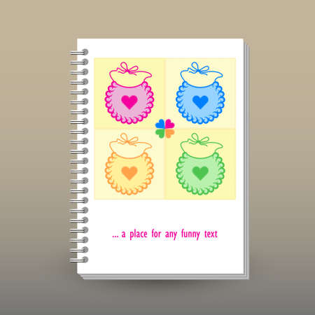 vector cover of diary or notebook with ring spiral binder layout brochure concept - cute pastel colored - patchwork pattern with baby bibs Foto de archivo - 97180279
