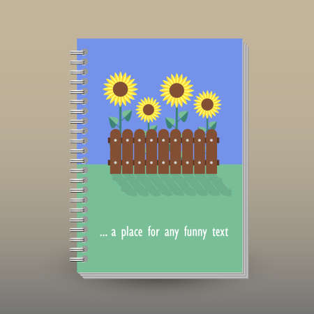 vector cover of diary or notebook with ring spiral binder layout brochure concept - yellow colored sunflowers in garden - flat design