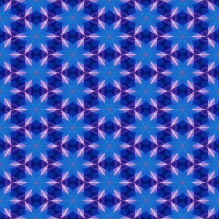 mosaic kaleidoscope seamless pattern texture background - blue colored stars with purple violet spikes Banco de Imagens