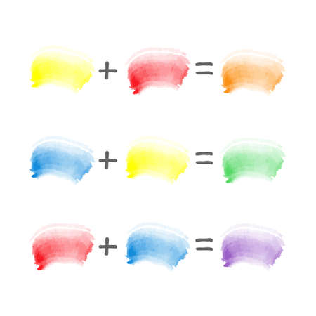 vector watercolor brush strokes sampler - color theory - red, blue and yellow combination - mixing primary to secondary shades Illustration