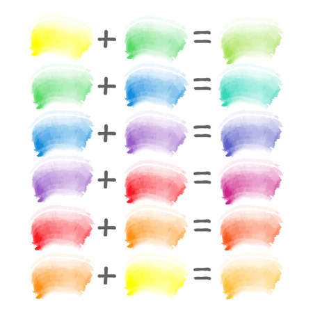 Watercolor vector brush strokes sampler, color theory red, blue and yellow combination. Mixing secondary to tertiary shades. Illustration