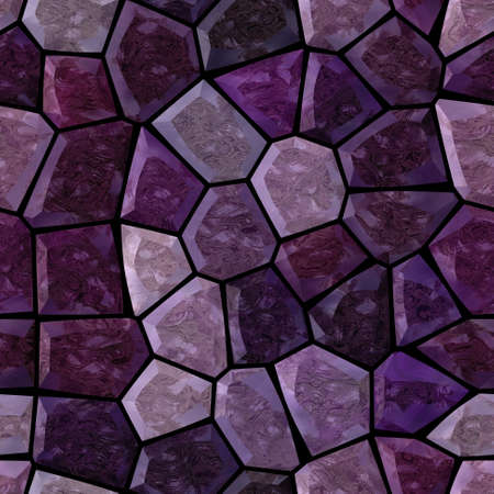surface floor marble mosaic pattern seamless background with black grout - dark purple violet color