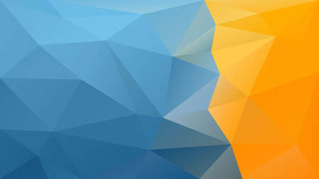 vector abstract irregular polygonal background - triangle low poly pattern - sky blue and yellow orange colored strip on right side