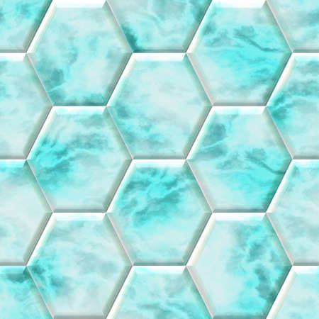 surface floor marble mosaic pattern seamless background hexacomb - blue green color