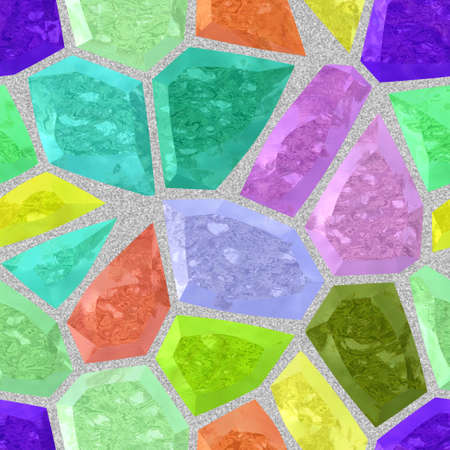 surface floor marble mosaic pattern seamless background with gray grout - full color spectrum - highlight blue, green, yellow, orange and purple Stock Photo
