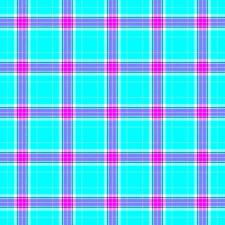 check diamond tartan plaid scotch fabric seamless pattern texture background - vibrant cyan blue, hot pink, purple and white color