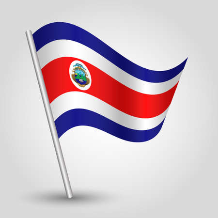 vector waving simple triangle rican flag on slanted silver pole - icon of costa rica with metal stick
