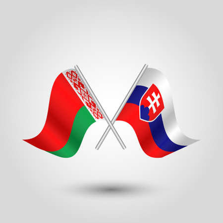 vector two crossed belarusian and slovak flags on silver sticks - symbol of belarus and slovakia
