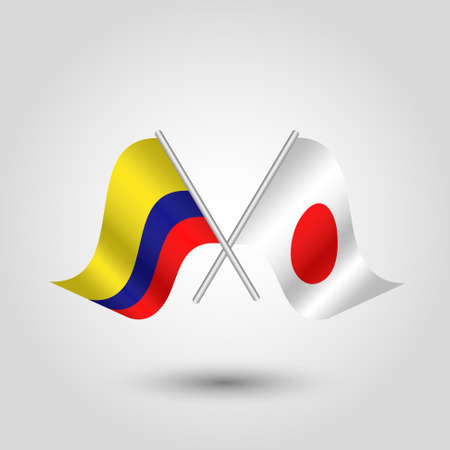 vector two crossed colombian and japanese flags on silver sticks - symbol of colombia and japan