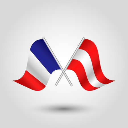 vector two crossed french and austrian flags on silver sticks - symbol of france and austria