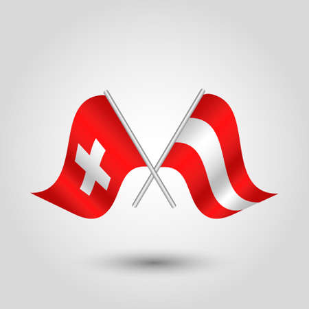 vector two crossed swiss and austrian flags on silver sticks - symbol of switzerland and austria Vettoriali