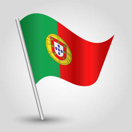 vector waving simple triangle portuguese flag on slanted silver pole - icon of portugal with metal stick