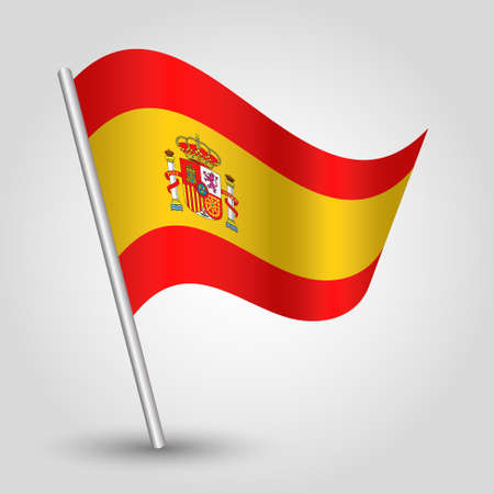 vector waving simple triangle spanish flag on slanted silver pole - icon of spain with metal stick Illustration