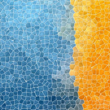 abstract nature marble plastic stony mosaic tiles texture background with white grout - blue color with yellow strip on right side