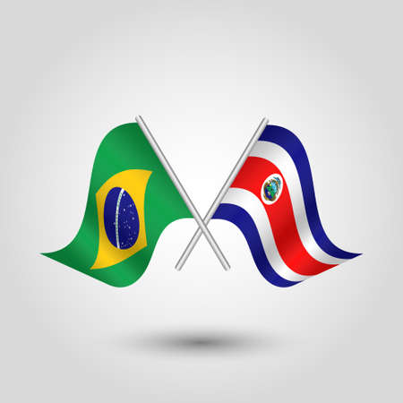 vector two crossed brazilian and costarican flags on silver sticks - symbol of brazilia and costa rica