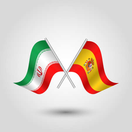 vector two crossed iranian and spanish flags on silver sticks - symbol of iran and spain