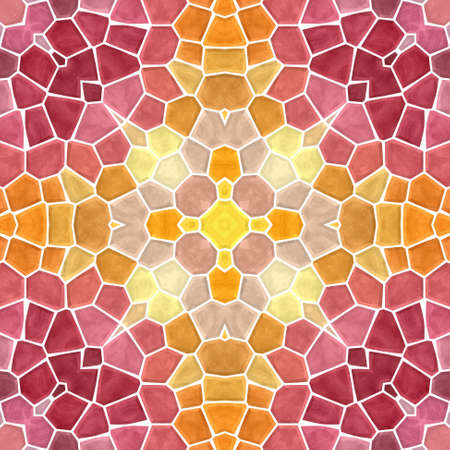 mosaic kaleidoscope seamless pattern texture background - vibrant orange, yellow, red, pink  colored with white grout Stock Photo