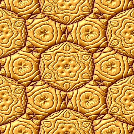 gold seamless texture geometric background with floral pattern