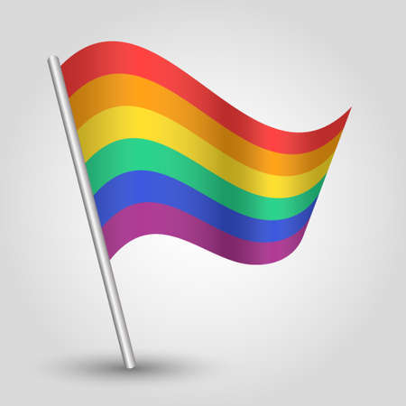 vector waving simple triangle rainbow flag on slanted silver pole - icon of  homosexual people   Illustration