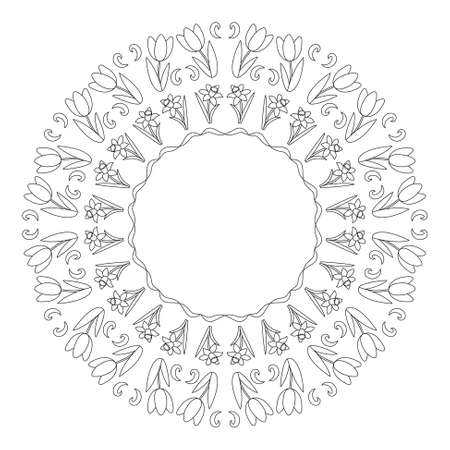 vector black and white circular round spring mandala with tulips and daffodils flowers- adult coloring book page