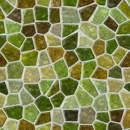 surface floor marble mosaic pattern seamless background with gray grout - green, khaki and brown color