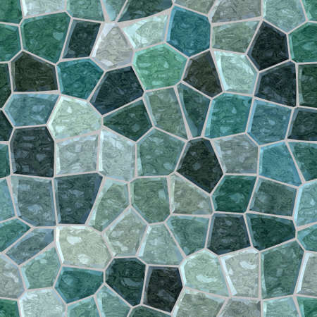 surface floor marble mosaic pattern seamless background with gray grout - emerald green and teal color