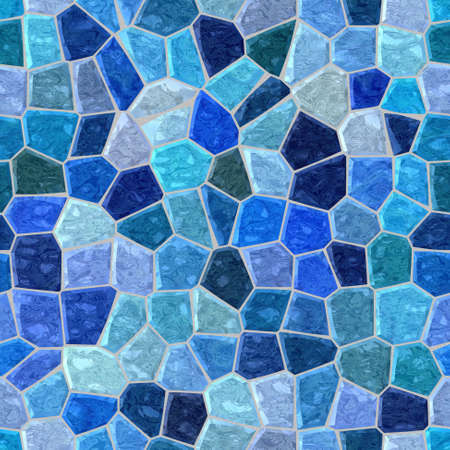 surface floor marble mosaic pattern seamless background with gray grout - marine blue, turquoise, purple and violet color