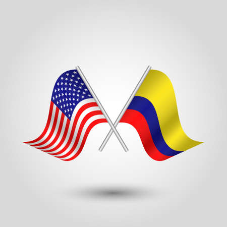 vector two crossed american and colombian flags on silver sticks - symbol of united states of america and colombia Ilustração