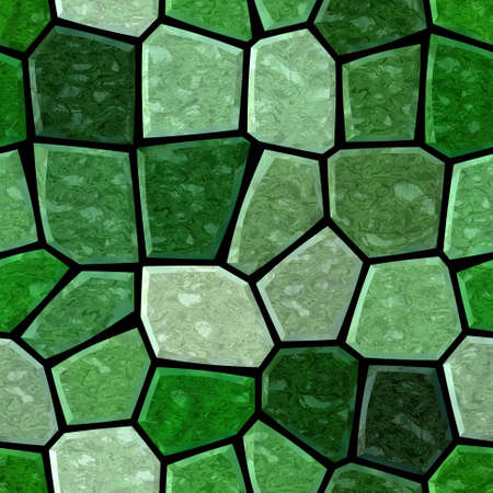 surface floor marble mosaic pattern seamless background with black grout - emerald, malachite, olivine and green color