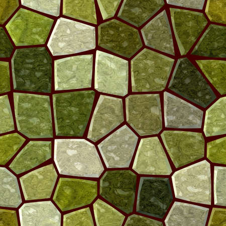 surface floor marble mosaic pattern seamless background with brown grout - khaki, jade and green color 版權商用圖片