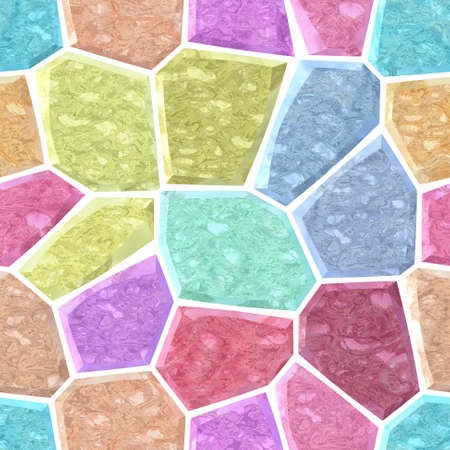 surface floor marble mosaic pattern seamless background with white grout - light pastel full color spectrum - pink, blue, purple, violet, green