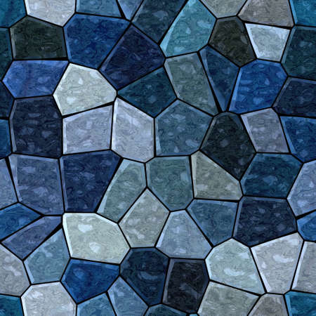 surface floor marble mosaic pattern seamless background with black grout - dark sapphire blue, slate gray, grey, navy color