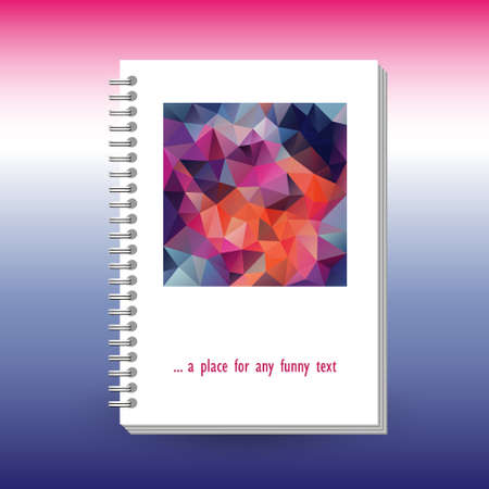 vector cover of diary or notebook with ring spiral binder - format A5 - layout brochure concept - vibrant blue pink magenta colored with polygonal triangle pattern Vectores