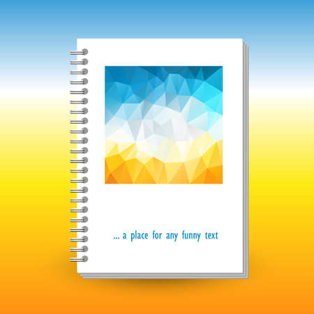 vector cover of diary or notebook with ring spiral binder - format A5 - layout brochure concept - hot summer colored with polygonal triangle pattern - blue sky over yellow beach