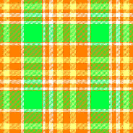 check diamond tartan plaid scotch fabric seamless pattern texture background - highlight orange, green, yellow and white color Stock Photo