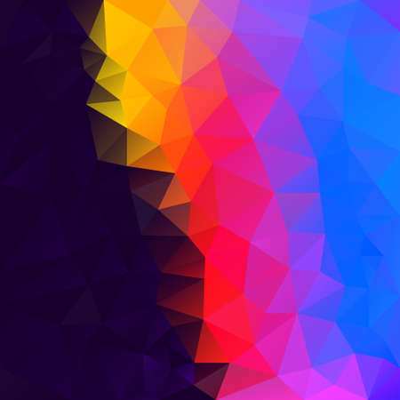 vector abstract irregular polygonal square background - triangle low poly pattern - vibrant neon rainbow full color spectrum