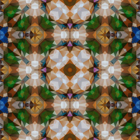 mosaic kaleidoscope seamless pattern texture background - emerald green, blue sapphire and brown agate colored variegated spectrum