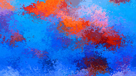 abstract stained pattern texture rectangle background medium royal blue ena hot red orange color - modern painting art - watercolor effect